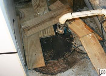 An ugly, clogged sump pump system in Birds Creek, Ontario