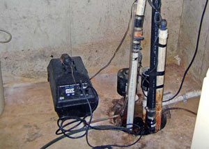 Pedestal sump pump system installed in a home in Ompah