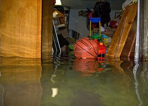A flooded basement bedroom in Frankford