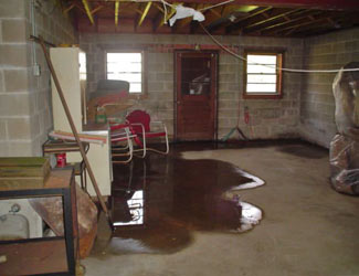 a flooded basement floor in a Gananoque home