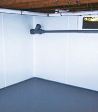 Plastic basement wall panels installed in a Gilmour, Ontario home