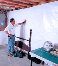 Plastic 20-mil vapor barrier for dirt basements, Gilmour, Ontario installation