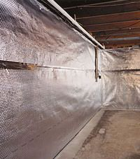 Radiant heat barrier and vapor barrier for finished basement walls in Gilmour, Ontario